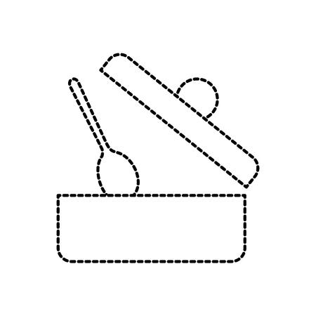 鍋をスプーンやキャップの台所メニュー食品ベクトル図を開く