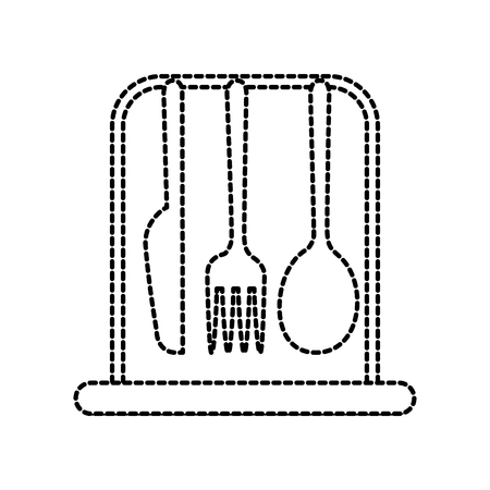 set kitchen cutlery fork knife and spoon icon vector illustration Çizim
