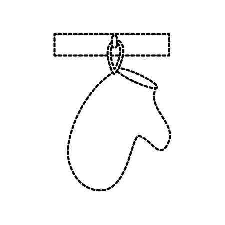 glove potholder kitchen hanging on the ledge vector illustration