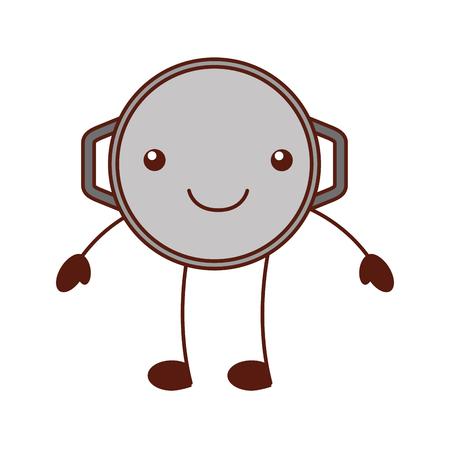 Dibujos animados cacerola freír cazuela manejar equipo vector illustration Foto de archivo - 87669535