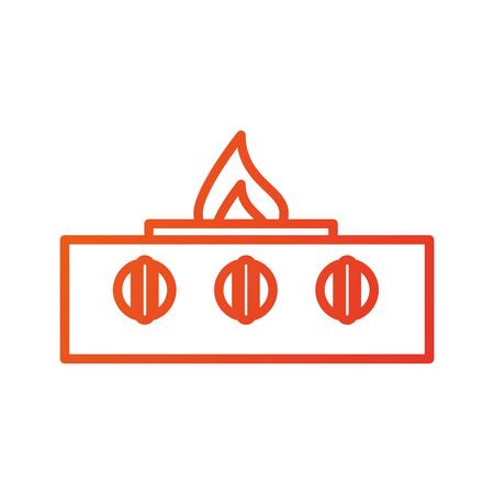 Brennende Flammegerätküchen-Vektorillustration des Ofens vordere Standard-Bild - 87669994