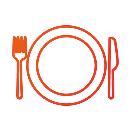 kitchen plate fork and knife domestic restaurant vector illustration