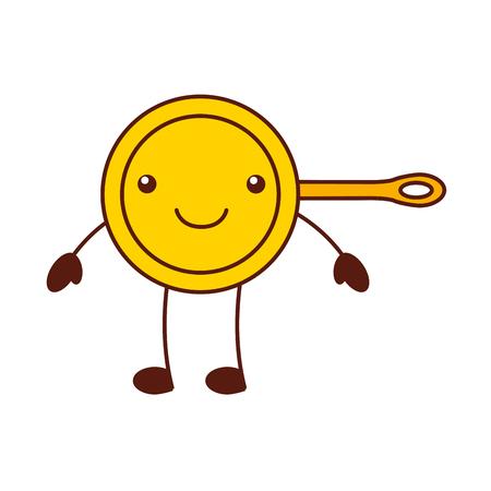 漫画フライパン キッチン用品調理食品のベクトル図  イラスト・ベクター素材