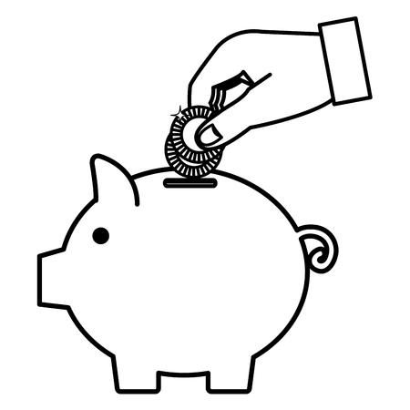 piggy savings with saver hand vector illustration design