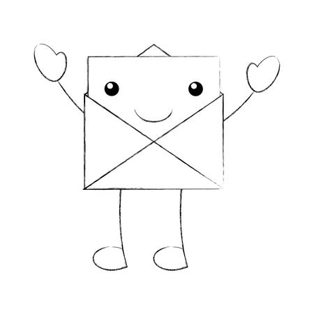 漫画の開いているエンベロープ メッセージ メール ベクトル図