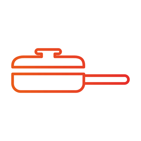 saucepan with cap frying food kitchen vector illustration