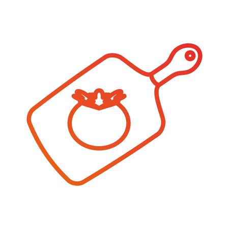 keuken houten snijplank met tomaat eten vectorillustratie Stock Illustratie