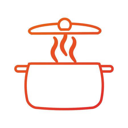 stainless pot utensil kitchen for cooking vector illustration Çizim