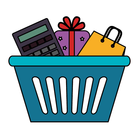 shopping basket with gift and calculator vector illustration design