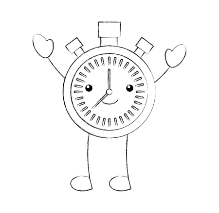 cartoon chronometer countdown speed timer object vector illustration Illustration