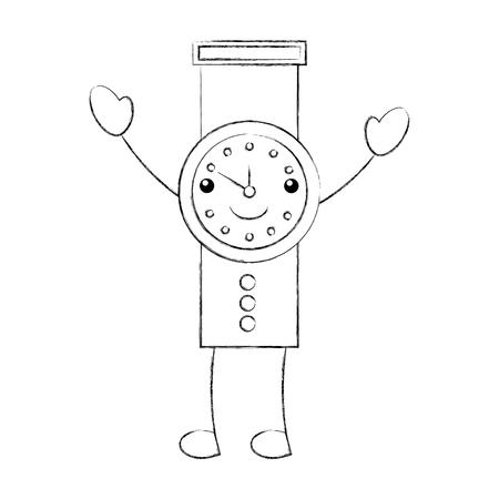 cartoon hand watch time business timer plan vector illustration