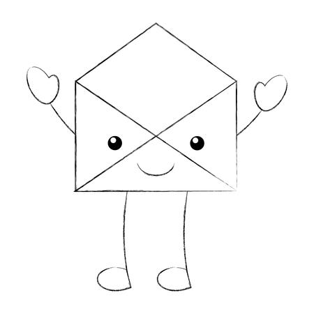 cartoon open envelope message mail vector illustration