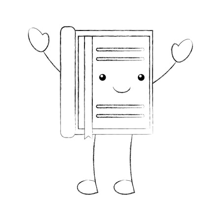 cartoon notebook with bookmark stationery office vector illustration