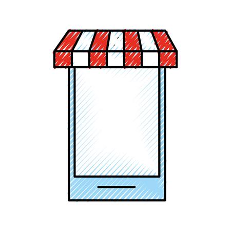 smartphone store grocery online digital shop vector illustration Ilustração