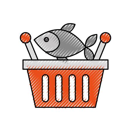 Korb einkaufen frischer Fisch Markt Meeresfrüchte Vektor-Illustration Standard-Bild - 87671405