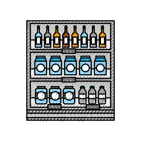supermarket grocery and store drinks bottles and boxes vector illustration Stock Vector - 87671407
