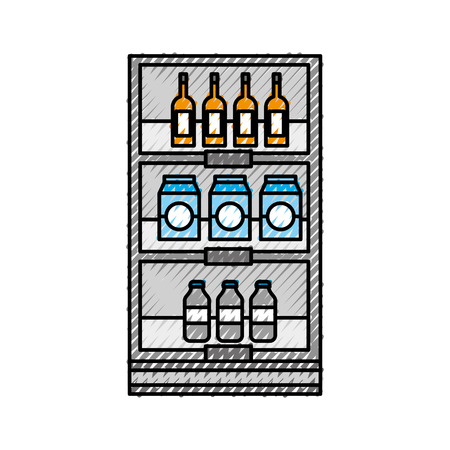supermarket grocery and store drinks bottles and boxes vector illustration Stock Vector - 87671408
