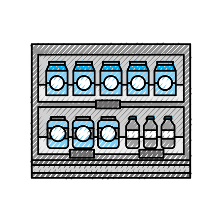 supermarket grocery and store drinks bottles and boxes vector illustration Stock Vector - 87671409