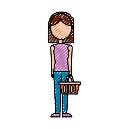 スーパー ベクトル図でトロリー バスケット空プラスチックを持つ女性