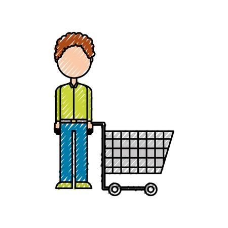 若い男押すトロリー ショッピング顧客ベクトル図