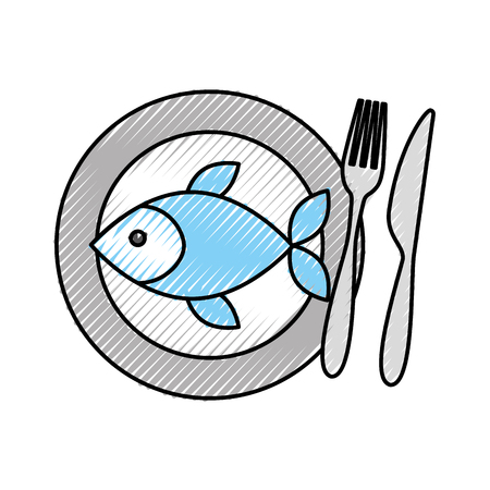 restaurant fish food with dish and fork knife vector illustration