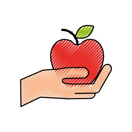 Mano sosteniendo ilustración de vector de tienda de fruta fresca de apple Foto de archivo - 87671924
