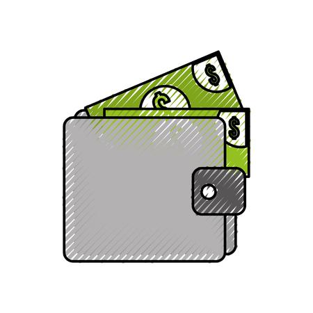 財布のお金紙幣ドルの現金を支払うベクトル図