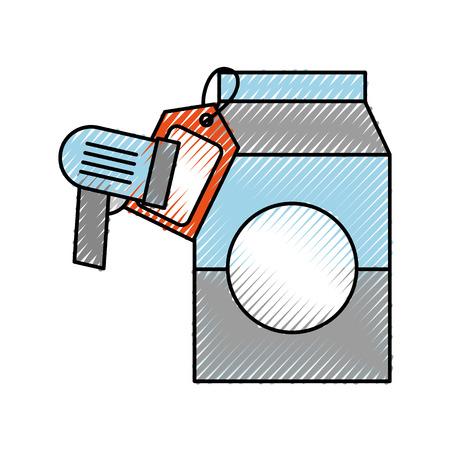 Saftgetränkkarton, der Preis- und Barcodescanner-Vektorillustration trinkt Standard-Bild - 87671980