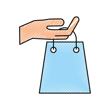 hand holding paper bag gift shopping concept vector illustration