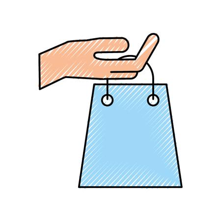 Main tenant le sac de papier sac shopping concept illustration vectorielle Banque d'images - 87671983