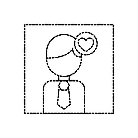avatar photo love heart social media vector illustration