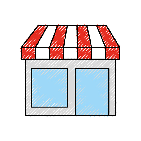 store grocery shop building exterior facade isolated on white background vector illustration