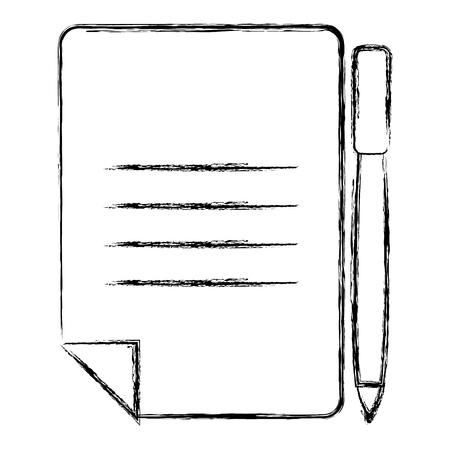 document paper with pen vector illustration design