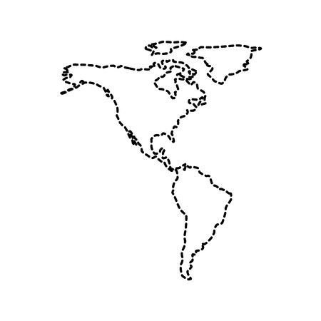 north and south america map communication network vector illustration Çizim