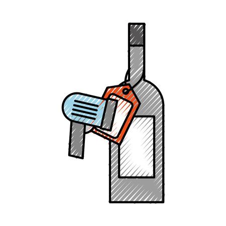 値札とスキャン コード ベクトル イラストでワインの瓶のガラス  イラスト・ベクター素材