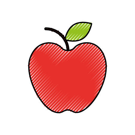 fresh fruit apple food market icon vector illustration