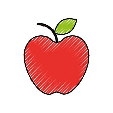 Fruta fresca de la fruta de la manzana mercado icono de la ilustración del vector Foto de archivo - 87672516