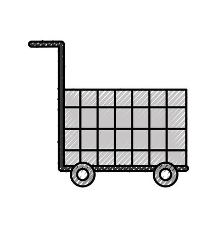 空のスーパー楽器オブジェクト商業ベクトル図をショッピング カート