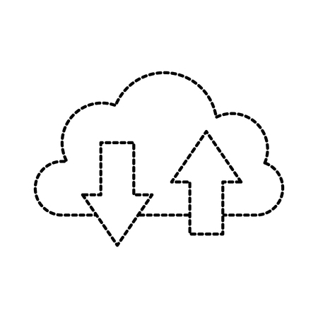 cloud computing unload download storage system information vector illustration