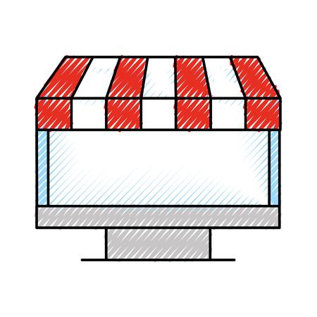 computer online winkelen kruidenier technologie vector illustratie Stock Illustratie