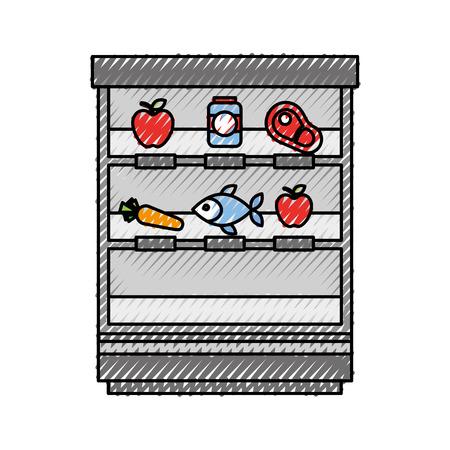 슈퍼마켓 쇼핑 쇼케이스 과일 야채 냉장고 쇼핑 벡터 일러스트 레이션