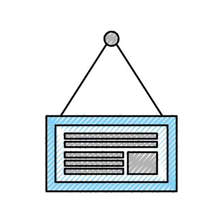 bord met touw opknoping op een nagel markt vectorillustratie