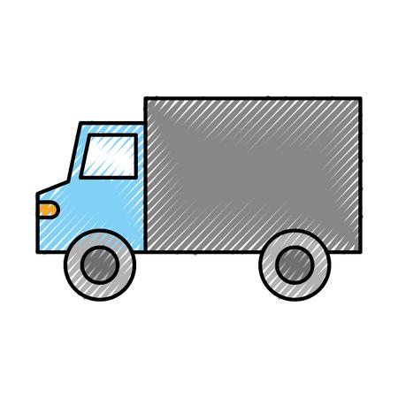 Camión de transporte de transporte de entrega icono de salida ilustración vectorial Foto de archivo - 87672540
