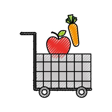 カート ショッピング食品スーパー マーケットの野菜や果物のベクトル図  イラスト・ベクター素材