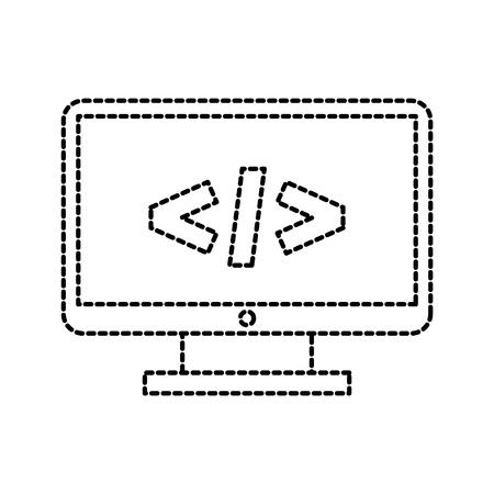 컴퓨터 모니터 기술 프로그래밍 언어 코드 벡터 일러스트 레이션 일러스트