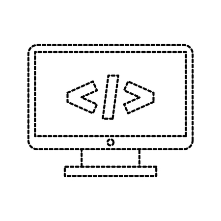 computer monitor technology programming language code vector illustration Illustration