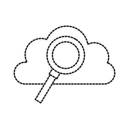 cloud computing magnifier find storage system vector illustration Illustration