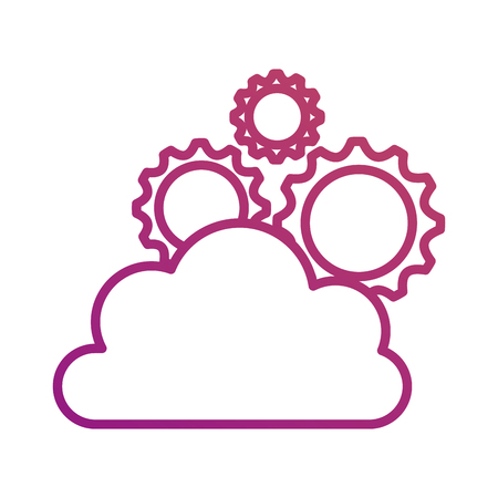 cloud computing gears solution teamwork network media vector illustration
