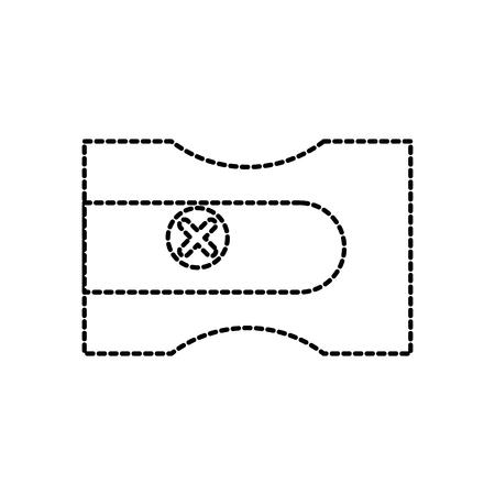 terug naar school puntenslijper plastic object pictogram vectorillustratie Stock Illustratie