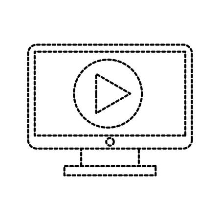 computer monitor technology movie video film media button vector illustration